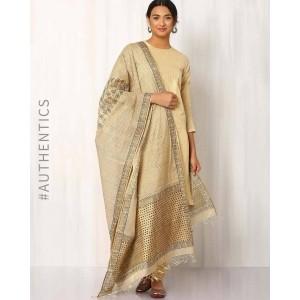 INDIE PICKS Brown Hand Block Print Tussar Dupatta
