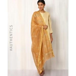 Indie Picks Gold Khari Printed Handwoven Chanderi Dupatta