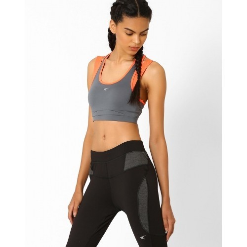 d5ffcf21d2 PERFORMAX Grey   Peach Colourblock Layered Sports Bra  PERFORMAX Grey    Peach Colourblock Layered Sports ...