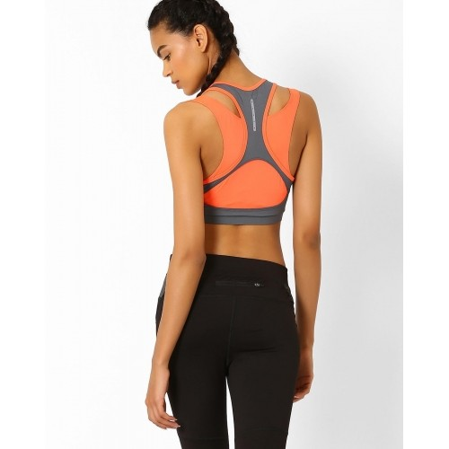 49047e5587 ... Sports Bra  PERFORMAX Grey   Peach Colourblock Layered Sports ...