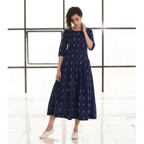 Buy Kharakapas Navy Blue Cotton Ikat Anarkali Kurti online