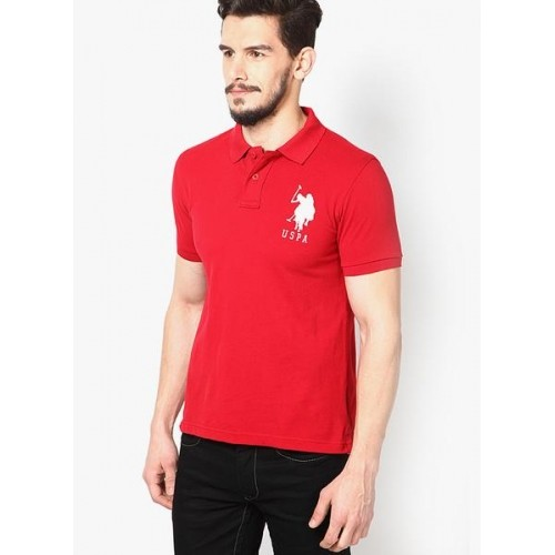 c38823d1 Buy U.S. Polo Assn. Red Slim Fit Polo T Shirt online | Looksgud.in