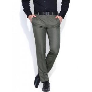 Park Avenue Men Olive Green Super Slim Fit Formal Trousers
