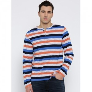 Fort Collins Multicoloured Striped Henley Neck T-shirt