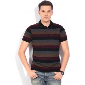 Peter England Striped Men's Polo Neck Multicolor T-Shirt