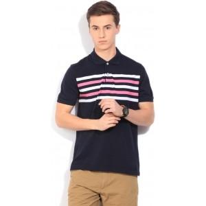 Peter England Striped Men's Polo Neck Dark Blue T-Shirt