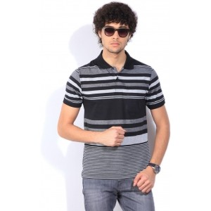 Peter England Striped Men's Polo Neck Black T-Shirt