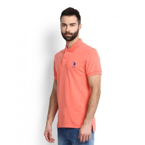 ed22f5866 Buy U.S. Polo Assn Peach Solid Cotton Polo T-Shirt online