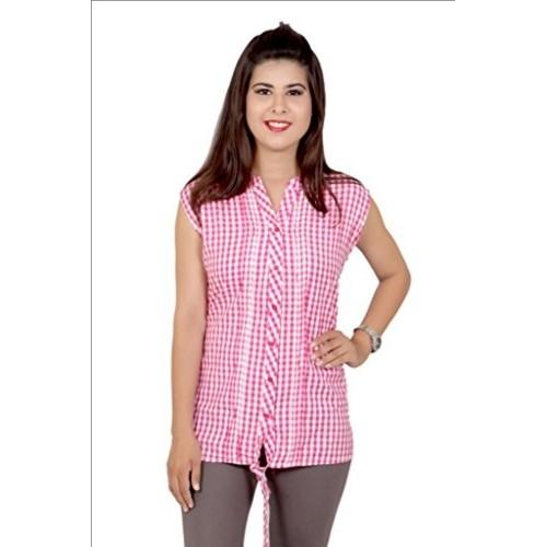 fd622fdf Buy Ishwar Exports 100% Cotton Pink Check Ladies Shirt online ...