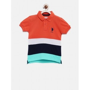 U.S. Polo Assn. Kids Boys Orange Colourblocked Polo T-shirt