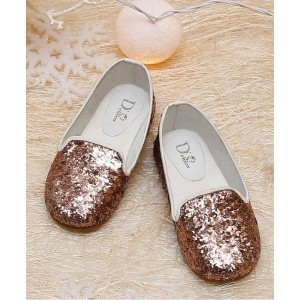 D'chica Copper Shimmer Loafer Shoes