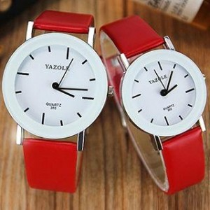 Red Leather Solid Analog Couple Watch