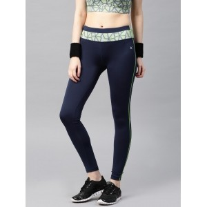 HRX by Hrithik Roshan Navy Blue Polyester Tights Yoga Pants
