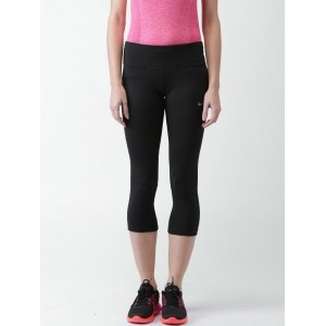 Nike Black Polyester & Spandex Solid Yoga Pants