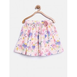 Mothercare Girl's Pink Floral Print Flared Skirt
