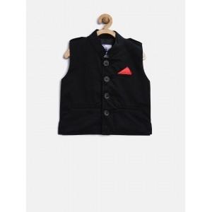 612 League Boy's Black Nehru Jacket