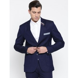 MR BUTTON Navy Single-Breasted Structured Fit Denim Casual Blazer