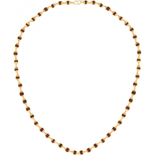 Stylepotion Traditional Rudraskh Beads 22K Yellow Gold Plated Brass Chain