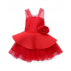 Babyhug Red Sleeveless Party Wear Frock With Floral Applique