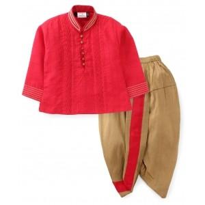 Babyhug Red And Beige Pintex Kurta And Dhoti Set