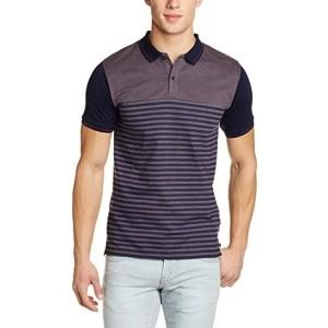 Highlander Navy Blue Cotton Printed Men's Polo T-Shirt