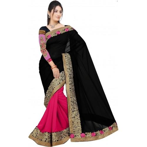Aashvi Creation Black & Pink Georgette Embroidered Bollywood Sari