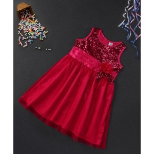 Babyhug Red Sleeveless Flower Applique Party Frock