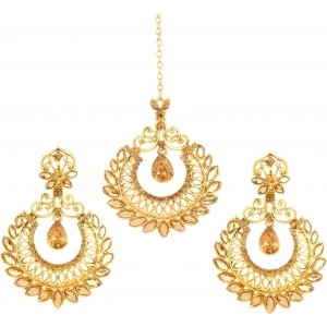 Bling N Beads Golden Alloy Jewel Set