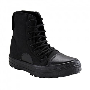 Unistar Black Synthetic Leather Lace Up High Ankle Boots