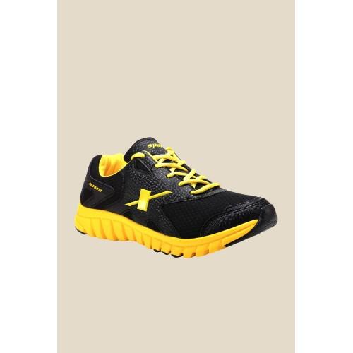 Sparx Mens' Black & Yellow Running Shoes (SM-185)