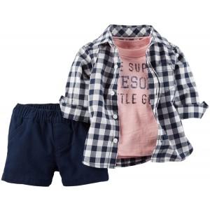 Carter's 3-Piece Multicolor Cotton Checkered Shirt & Short Set