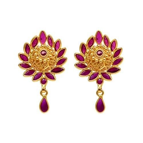 e1414258d ... Joyalukkas Savariya Precious Collections 22k (916) Yellow Gold and Ruby  Drop Earrings ...
