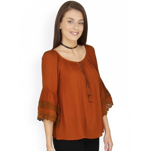 20Dresses Women Rust Brown Solid Top