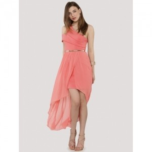 Forever New Peach Solid One Shoulder Strappy 2 In 1 Dress