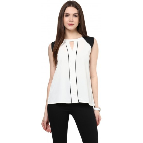 Rare White Crepe Sleeveless Solid Top