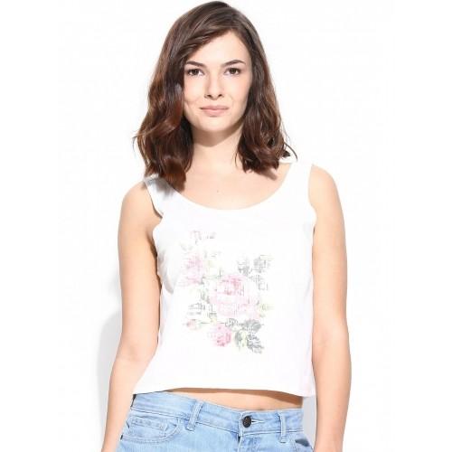 Vero Moda Women Off-White Printed Crop Top