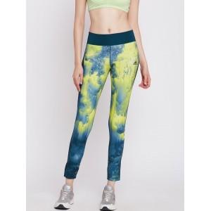 Adidas Teal Green & Yellow Polyester Printed Tights
