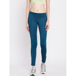 Adidas Teal Blue Polyester Techfit Printed Tights