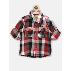 Gini & Jony Boy's Red And Black Checked Shirt