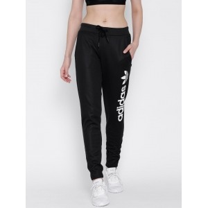 Adidas Black Patterned Polyester Track Pants