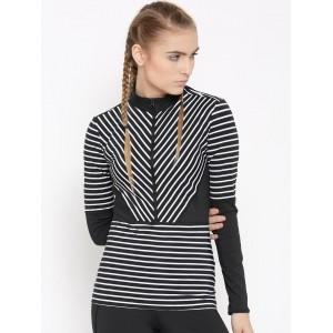 Adidas Black Cotton Long Sleeve Striped Top