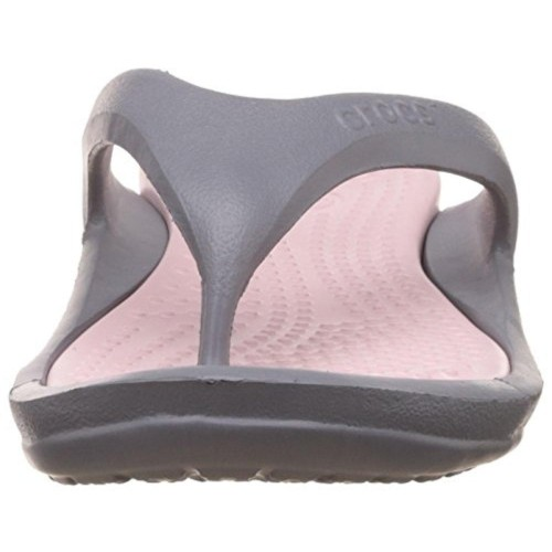 Crocs Charcoal Grey & Pink Rubber Hawaii Thong Style Flip Flop