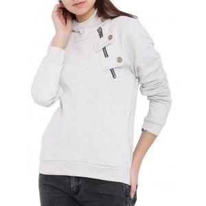 Campus Sutra Grey Cotton Long Sleeves Sweatshirt