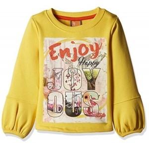 Little Kangaroos Yellow Cotton Printed T-Shirt