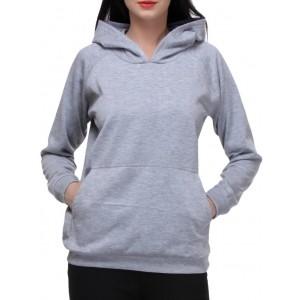 Purys solid grey fleece hoodie sweatshirt