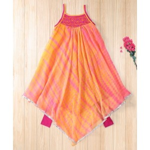 Twisha Orange Asymetrical Hem Shibori Kurta With Leggings