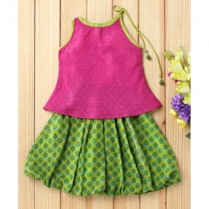 Twisha Pink Tie Up Top With Green Balloon Skirt
