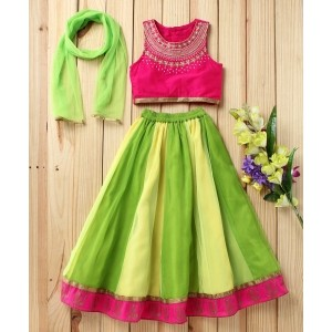 Twisha Green Shaded Lehanga With Embroidered Choli & Dupatta