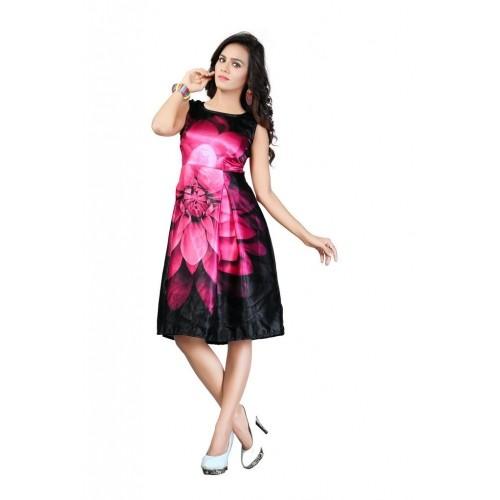 089582c440f0 ... Stylistico women apparel western wear black and pink rose silk one  piece dress ...