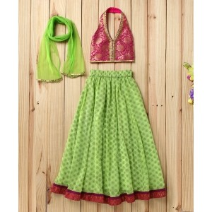 Twisha Green Floral Lehanga With Hot Pink Brocade Blouse